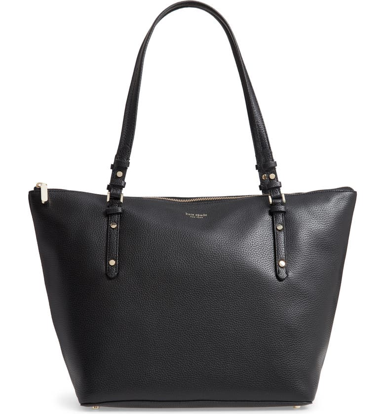 KATE SPADE NEW YORK large polly leather tote, Main, color, 001