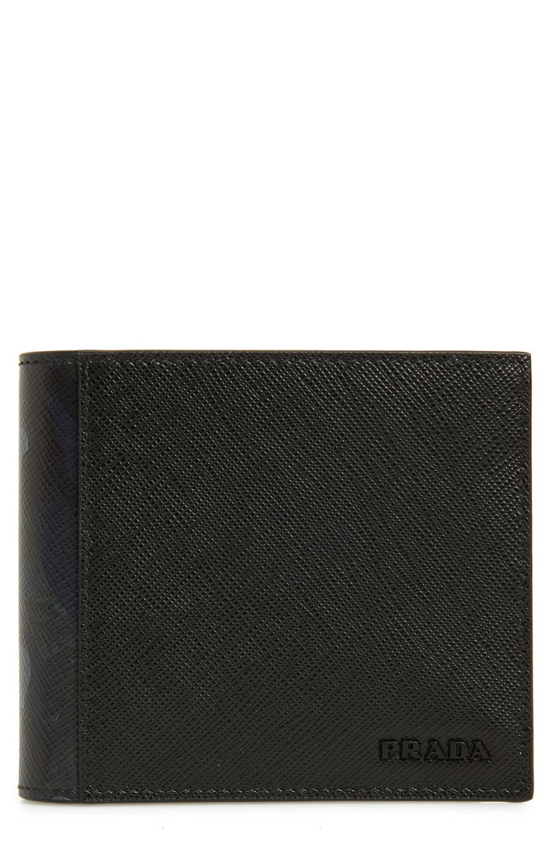 PRADA Camo Print Saffiano Leather Wallet, Main, color, 001