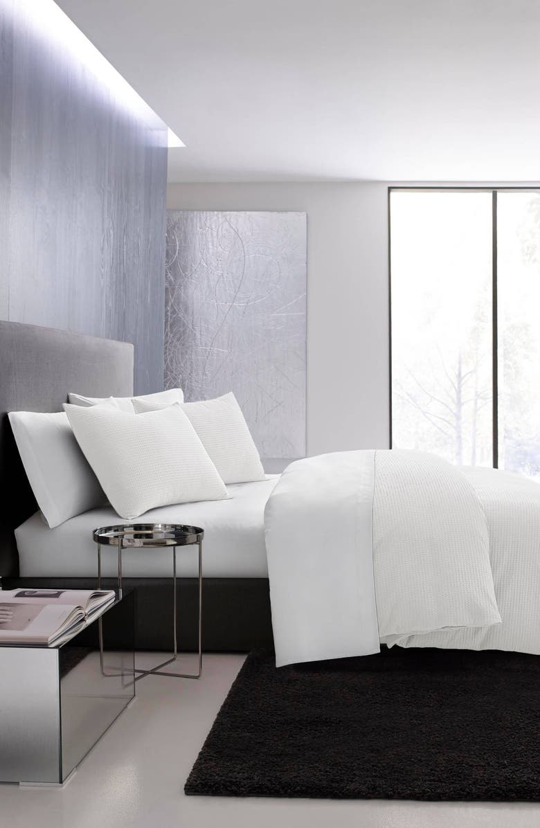 VERA WANG Waffle Piqué Duvet Cover & Sham Set, Main, color, WHITE