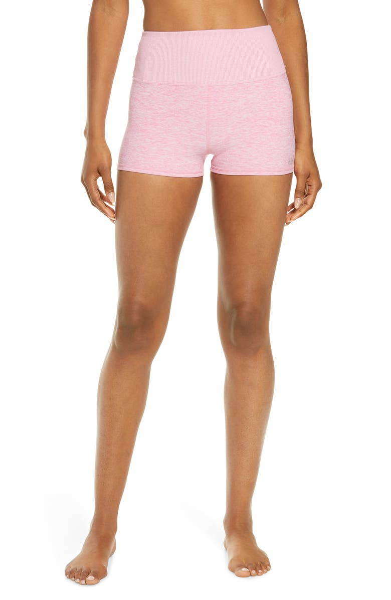 ALO Aura Bike Shorts, Main, color, PARISIAN PINK HEATHER