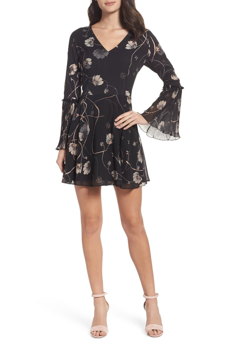 CHELSEA28 Bell Sleeve Fit & Flare Dress, Main, color, 001