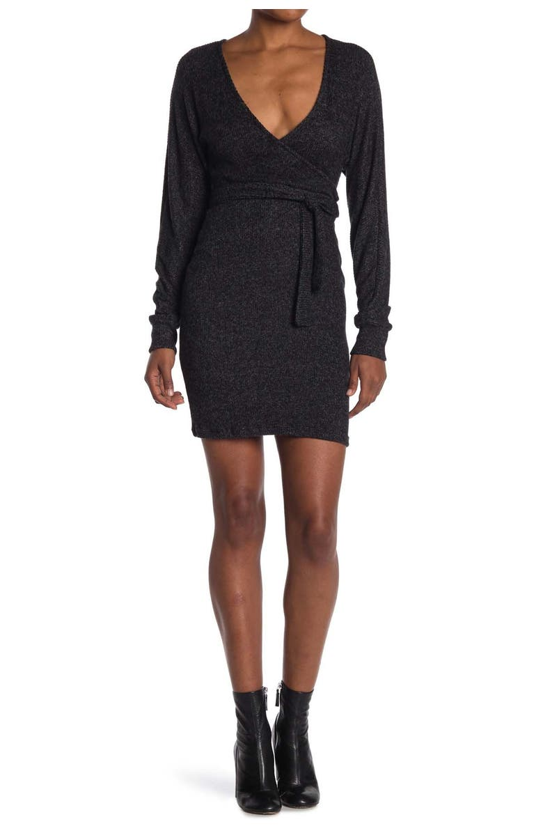 MAX AND ASH Solid Print Wrap Style Knit Dress, Main, color, BLACK