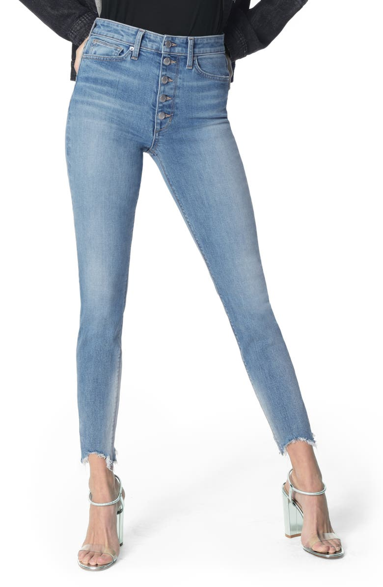 JOE'S The Bella Chewed Hem Button Fly Ankle Skinny Jeans, Main, color, 455