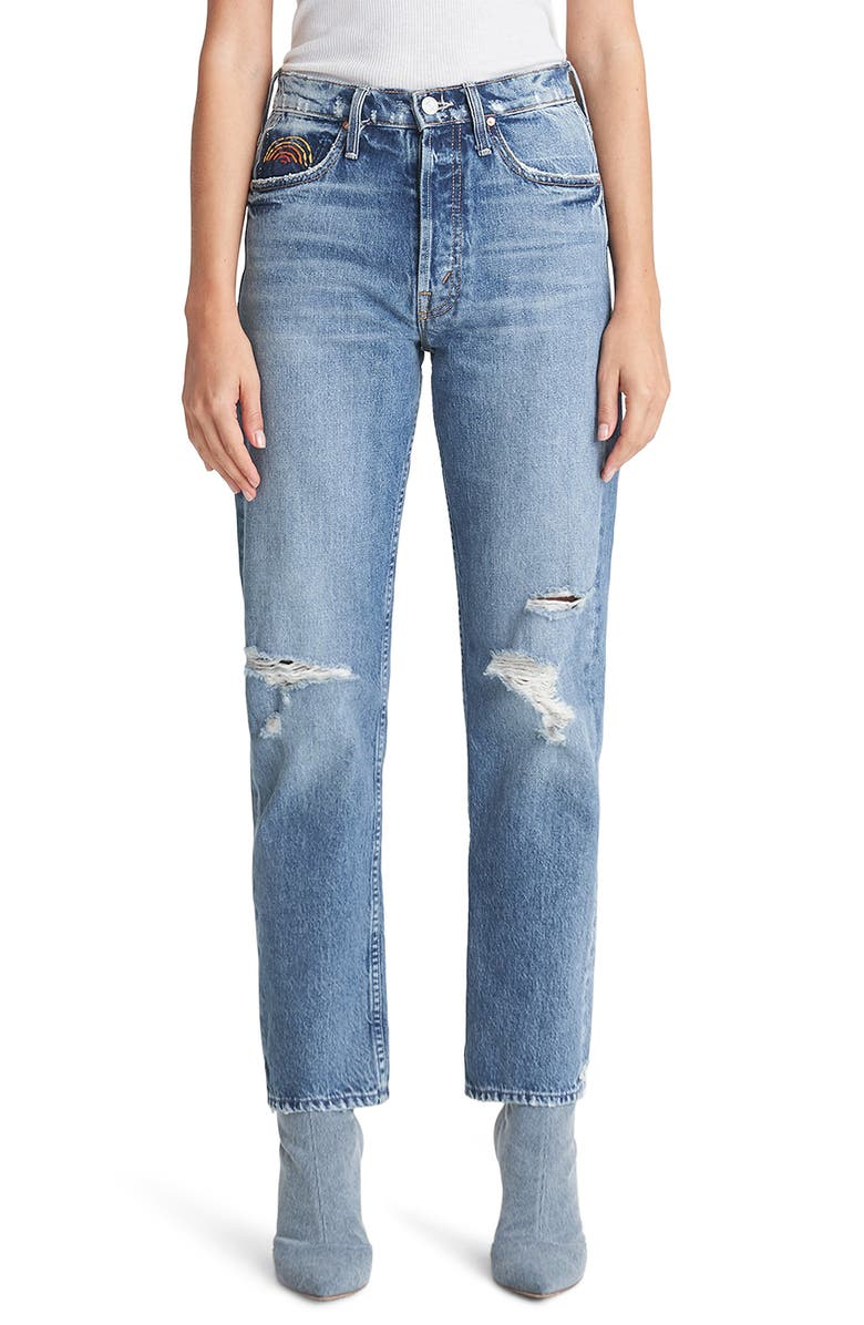 MOTHER The Tomcat Ripped High Waist Ankle Jeans, Main, color, 420