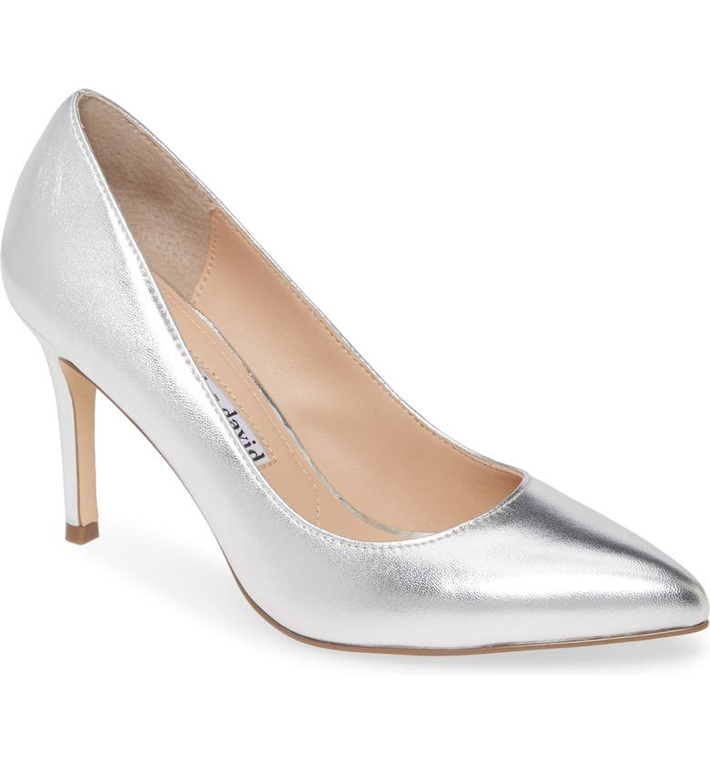 CHARLES DAVID Vibe Pointed Toe Pump, Main, color, SILVER LEATHER