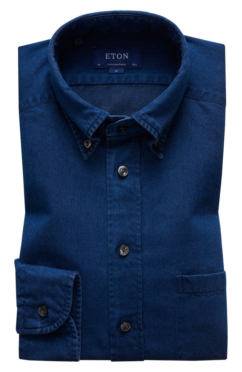 ETON Soft Casual Line Contemporary Fit Chambray Shirt, Main, color, 400