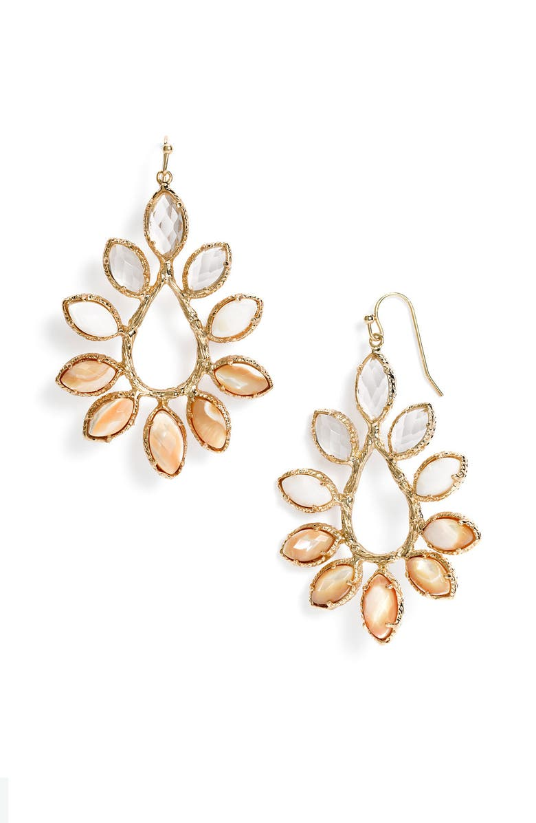 KENDRA SCOTT 'Nyla' Large Teardrop Floral Earrings, Main, color, 104