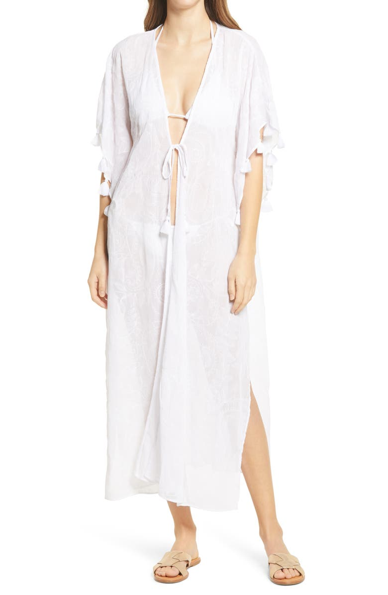 LILLY PULITZER<SUP>®</SUP> Scheena Tassel Midi Cover-Up, Main, color, RESORT WHITE