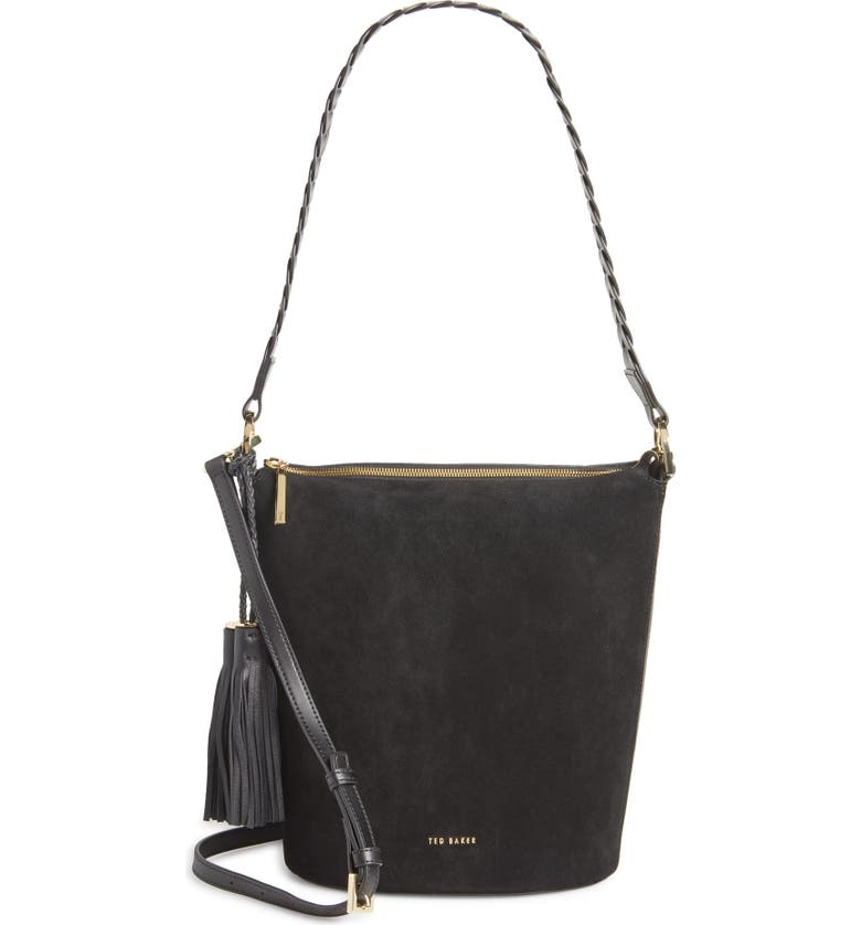 TED BAKER LONDON Rojin Leather Bucket Bag, Main, color, 001
