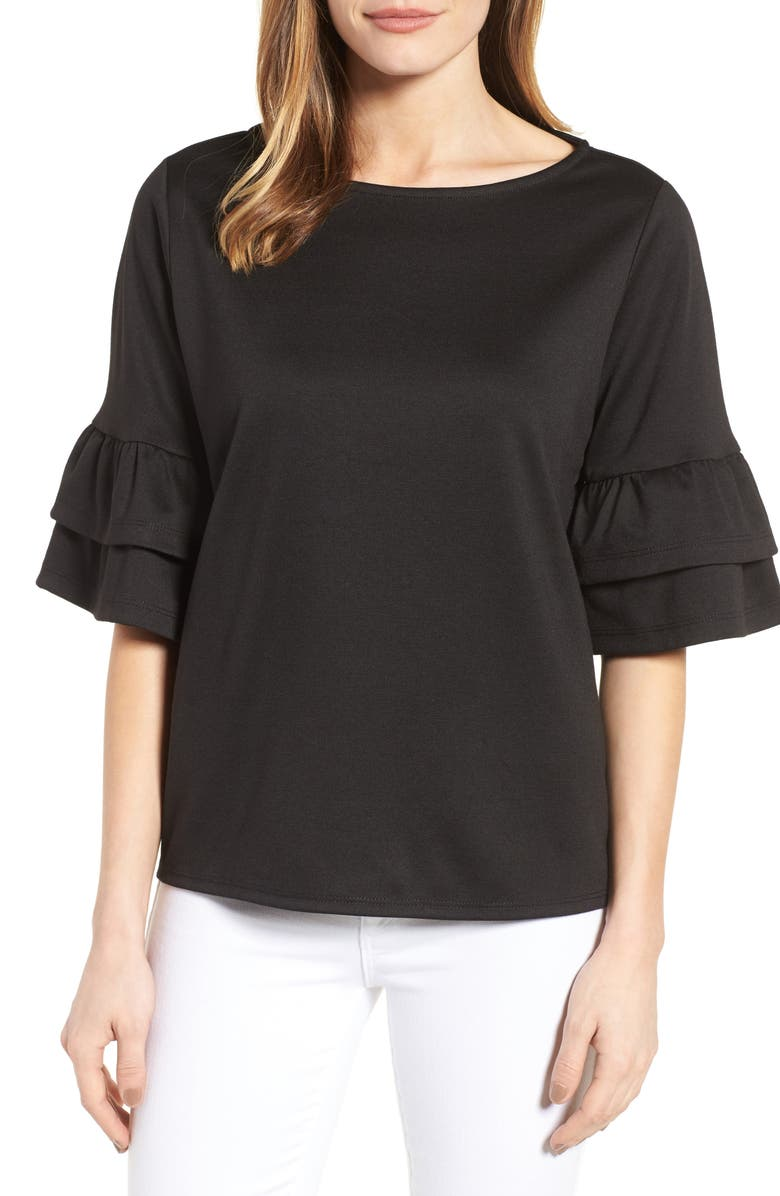 HALOGEN<SUP>®</SUP> Ruffle Sleeve Top, Main, color, Black