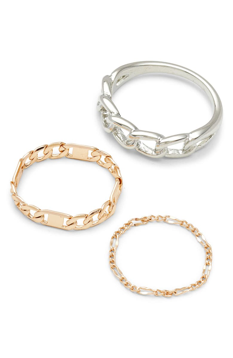NORDSTROM Set of 3 Chain Link Rings, Main, color, RHODIUM- GOLD