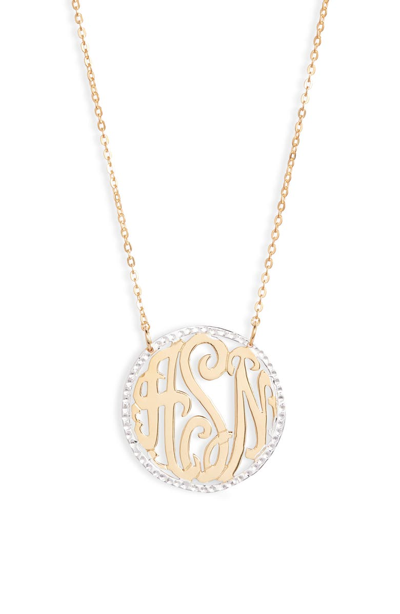 ARGENTO VIVO STERLING SILVER Argento Vivo Personalized Three Initial Pendant Necklace, Main, color, GOLD/SILVER