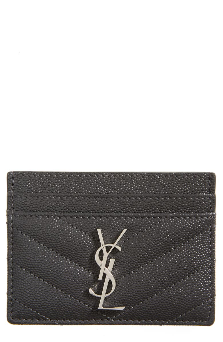 SAINT LAURENT Monogram Leather Credit Card Case, Main, color, 020