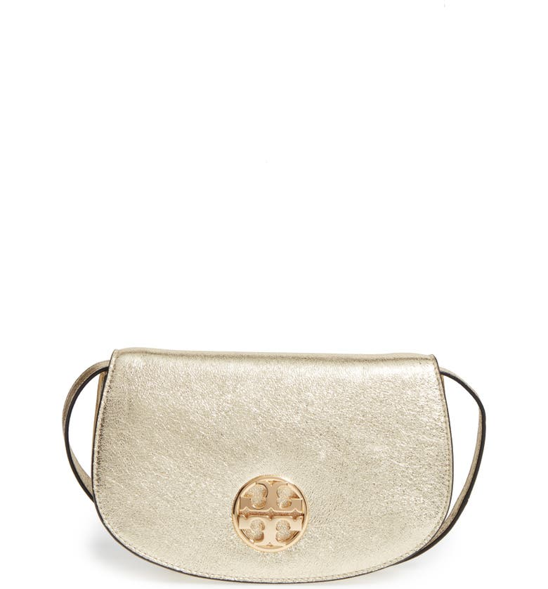 TORY BURCH Jamie Metallic Leather Clutch, Main, color, 701
