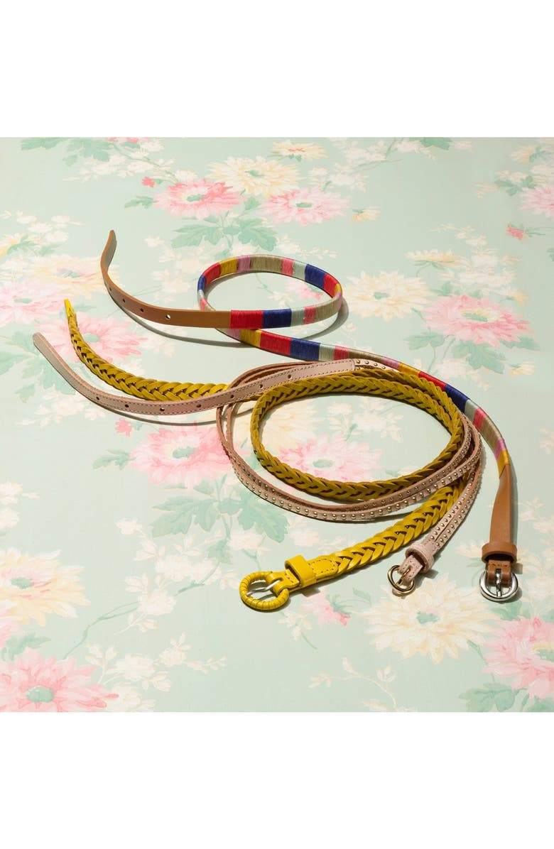 TARNISH Skinny Braided Leather Belt, Main, color, 900