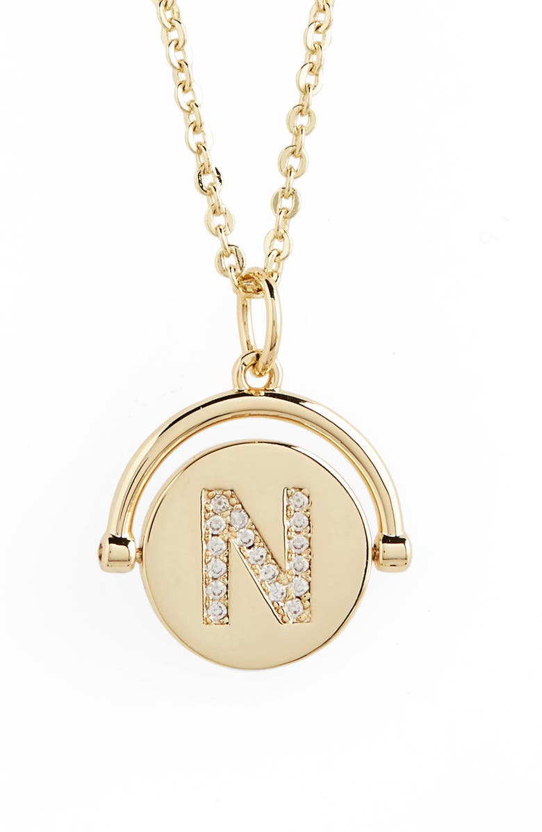 LULU DK Love Letters Spinning Initial Necklace, Main, color, 722