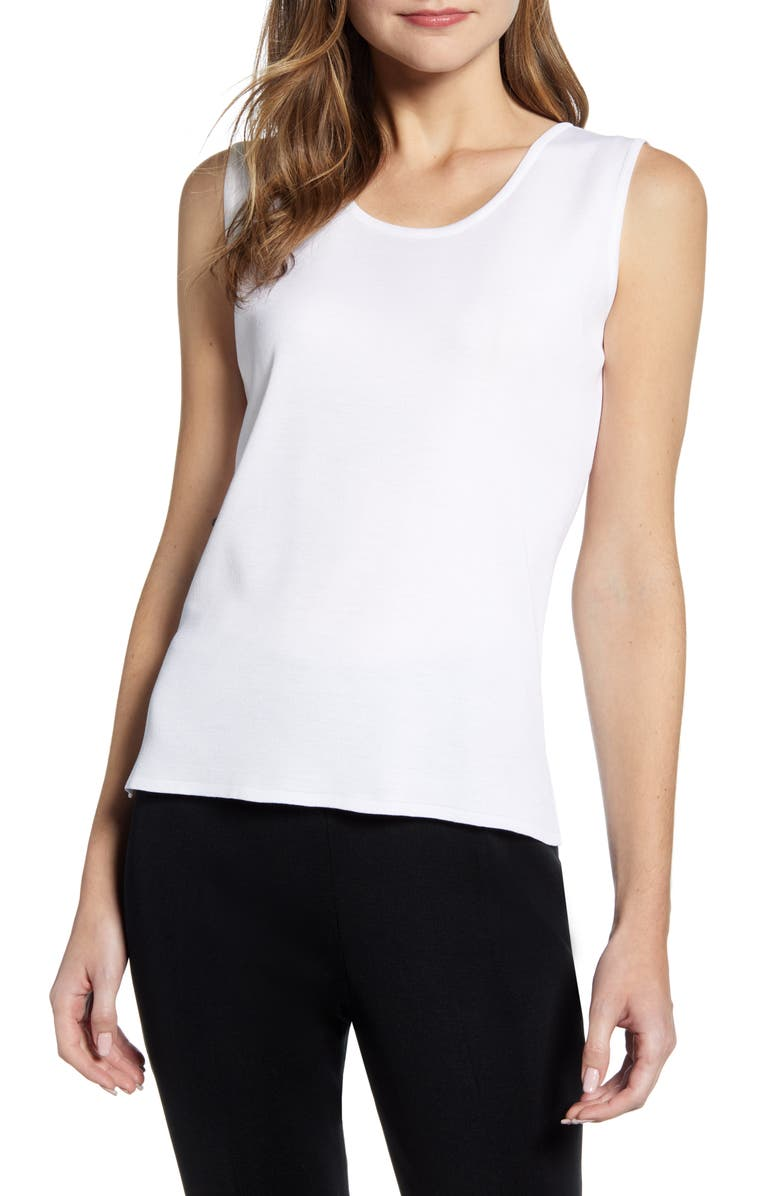 MING WANG Scoop Neck Tank, Main, color, WHITE