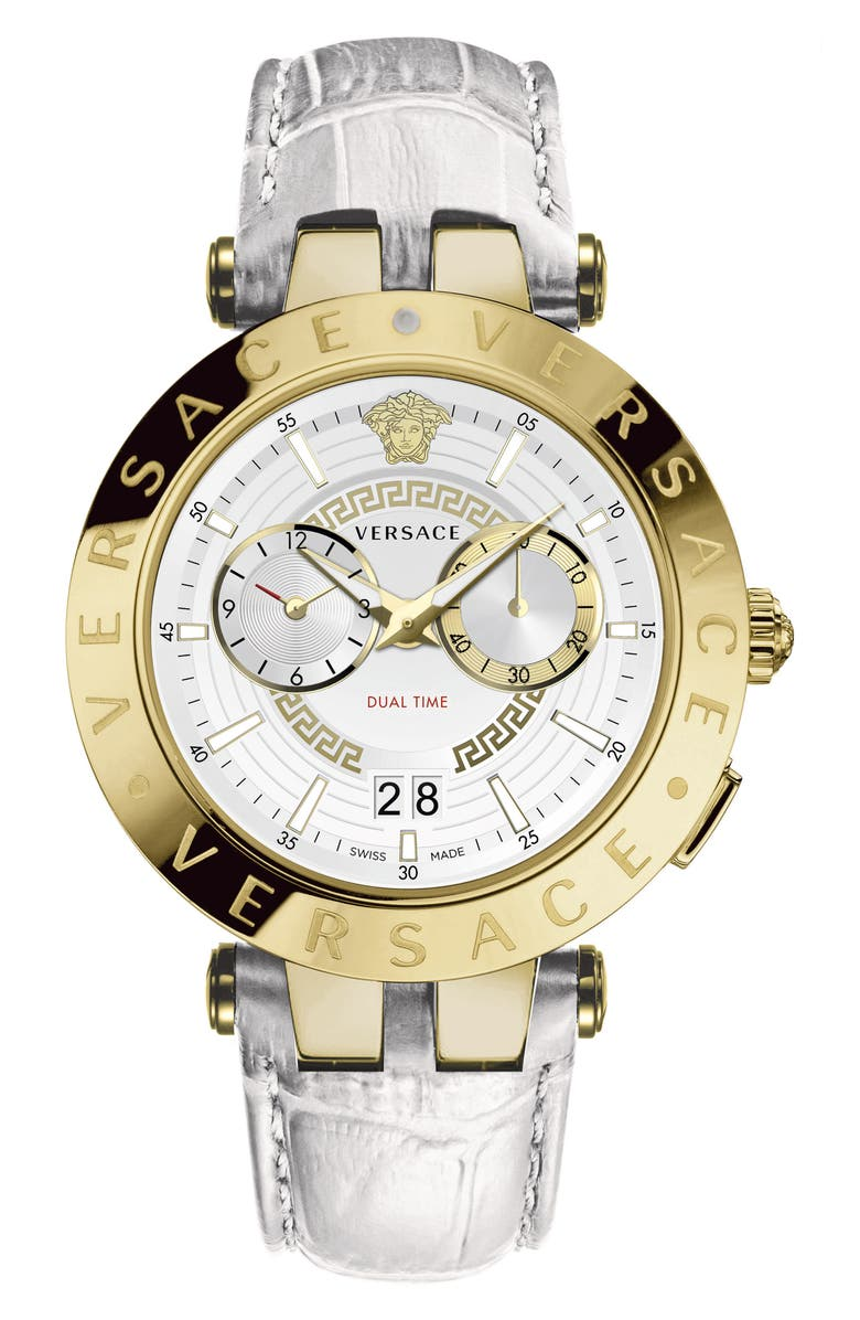 VERSACE V-Race Dual Time Leather Strap Watch, 46mm, Main, color, 100
