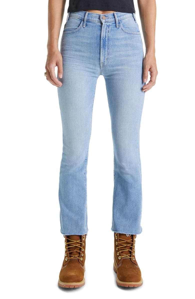 MOTHER The Hustler High Waist Frayed Ankle Bootcut Jeans, Main, color, 400