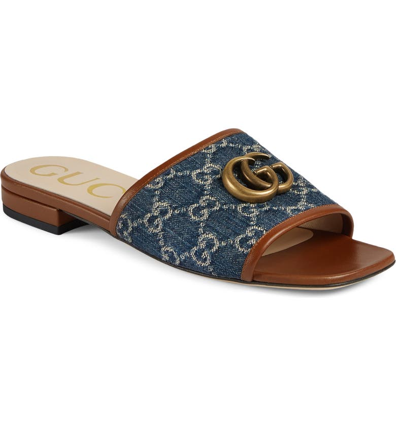 GUCCI Jolie Logo Slide Sandal, Main, color, BLUE TEA