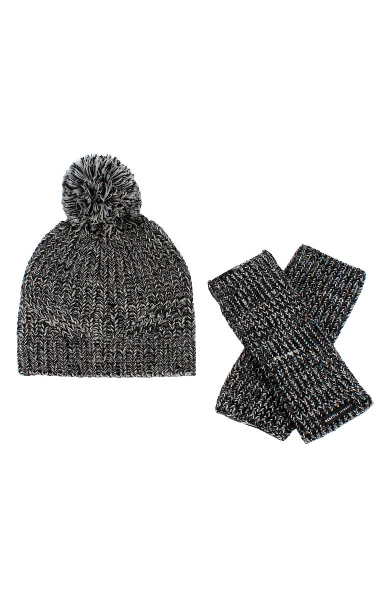 REBECCA MINKOFF Beanie & Arm Warmers Set, Main, color, 001