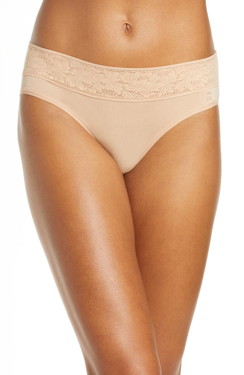 TOMMY JOHN Second Skin Lace Cheeky Briefs, Main, color, MAPLE SUGAR