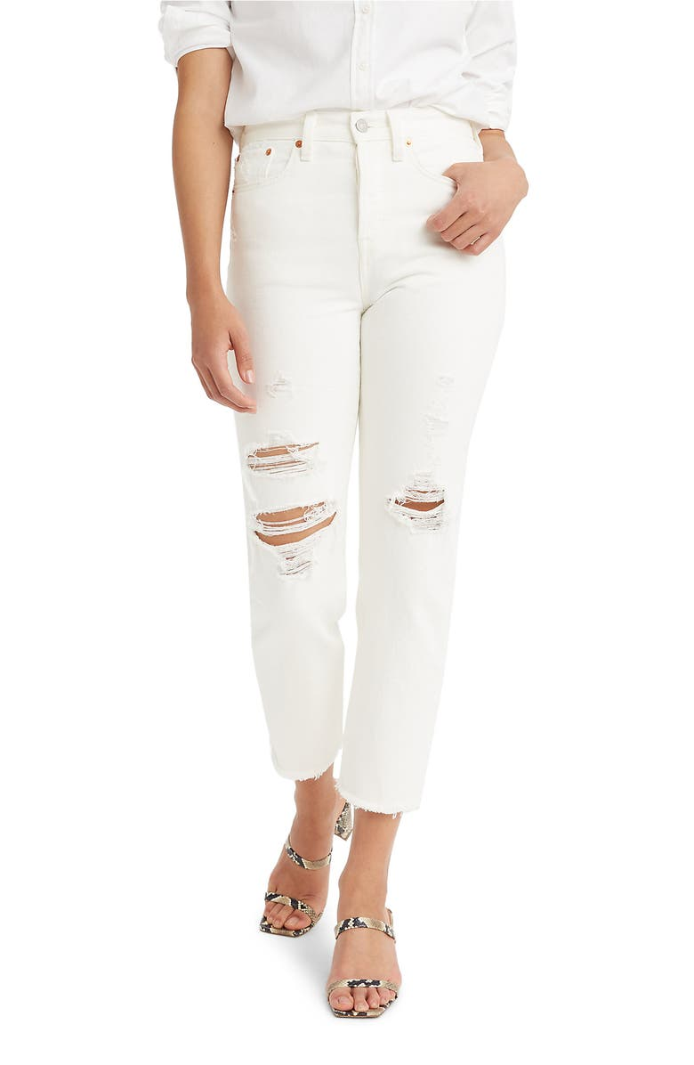LEVI'S<SUP>®</SUP> Wedgie High Waist Crop Straight Leg Jeans, Main, color, CLOUD BANK