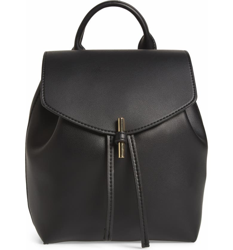 TOPSHOP Blake Mini Faux Leather Backpack, Main, color, 001