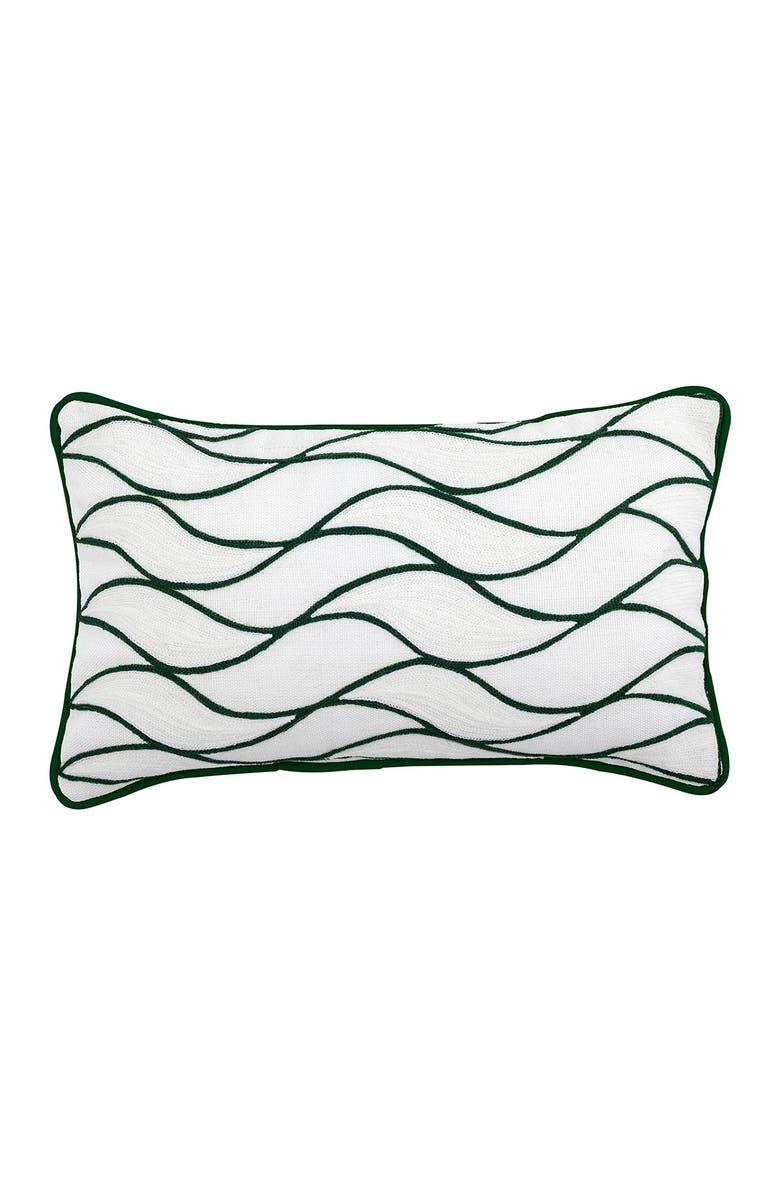 """DIVINE HOME Embroidered Curves Outdoor Pillow - 12"""" x 20"""" - Green, Main, color, GREEN"""