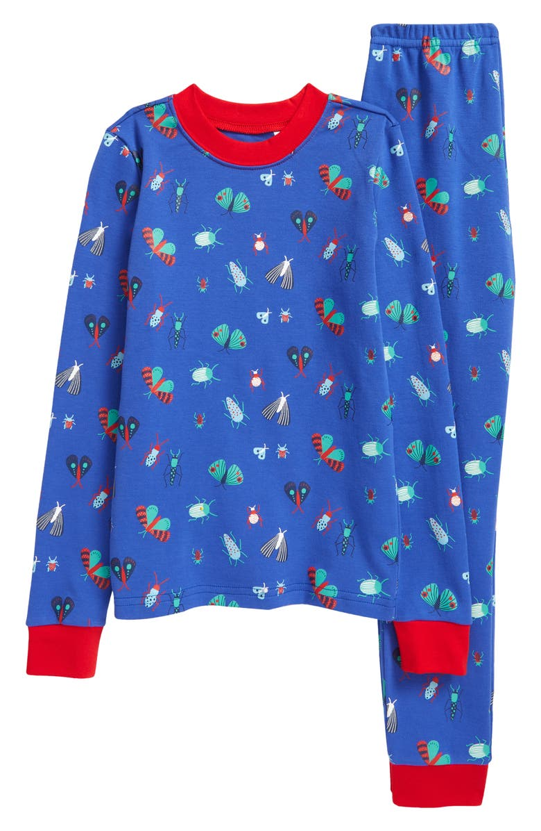 TUCKER + TATE x Smithsonian Kids' Glow in the Dark Two-Piece Fitted Pajamas, Main, color, BLUE DAZZLE FUN BUGS