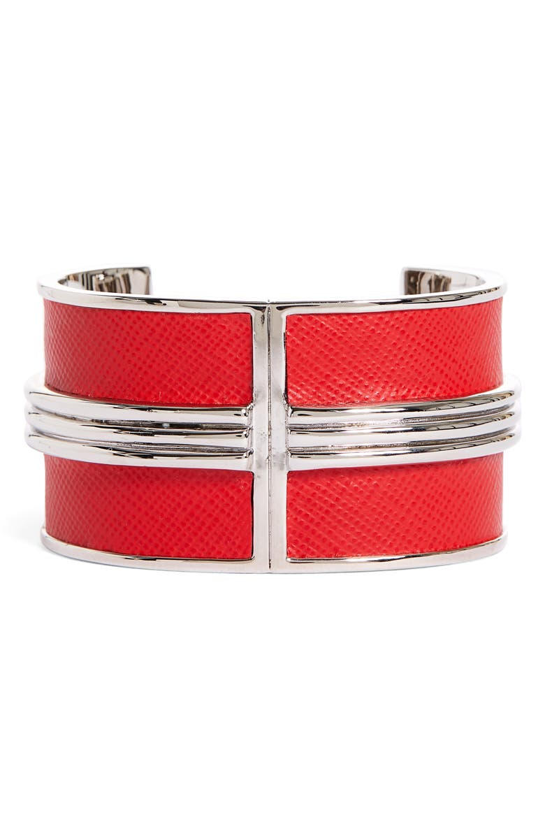 ST. JOHN COLLECTION Leather Detail Metal Cuff, Main, color, RHODIUM/ RED LEATHER