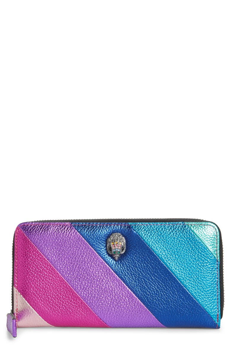 KURT GEIGER LONDON Rainbow Shop Eagle Stripe Leather Zip Around Wallet, Main, color, OPEN MISCELLANEOUS