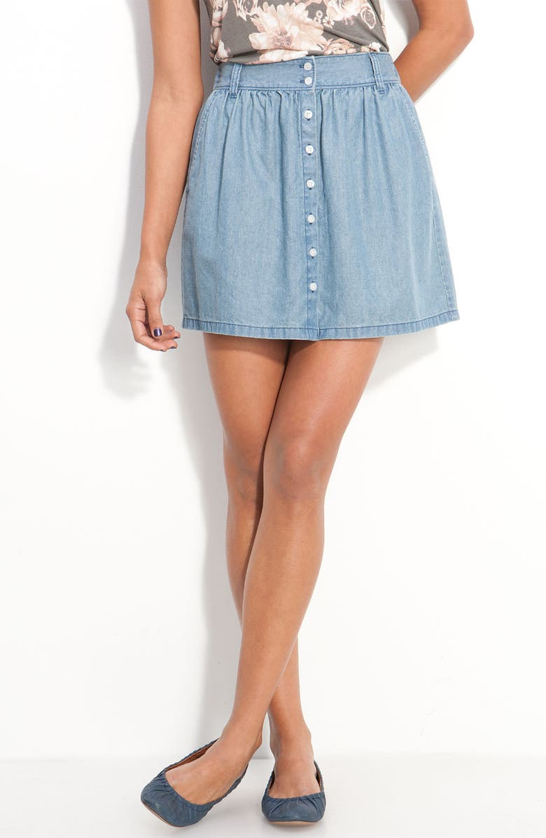 FRENCHI <sup>®</sup> Button Front Chambray Skirt, Main, color, LIGHT WASH