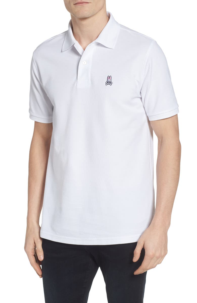 PSYCHO BUNNY The Classic Slim Fit Piqué Polo, Main, color, WHITE