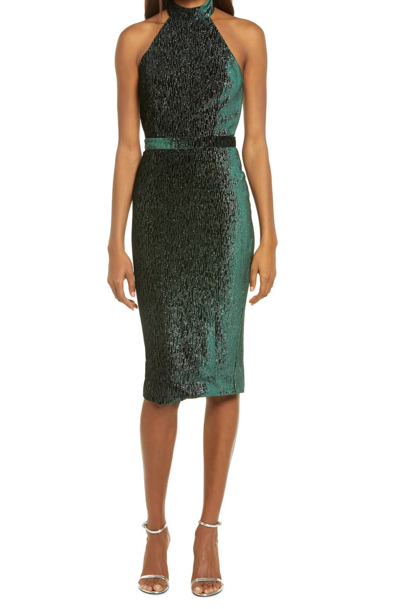 LAVISH ALICE Diamate Velvet Halter Neck Dress, Main, color, FOREST GREEN