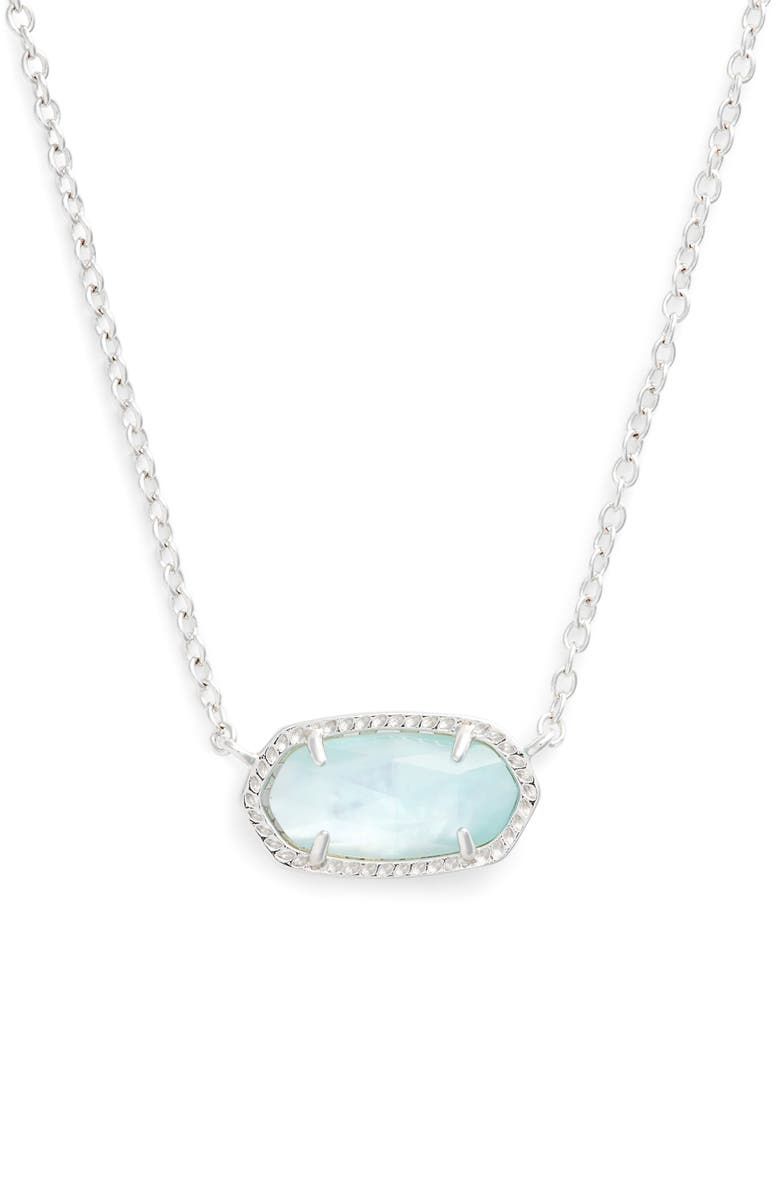 KENDRA SCOTT Elisa Birthstone Pendant Necklace, Main, color, MARCH/LIGHT BLUE/SILVER