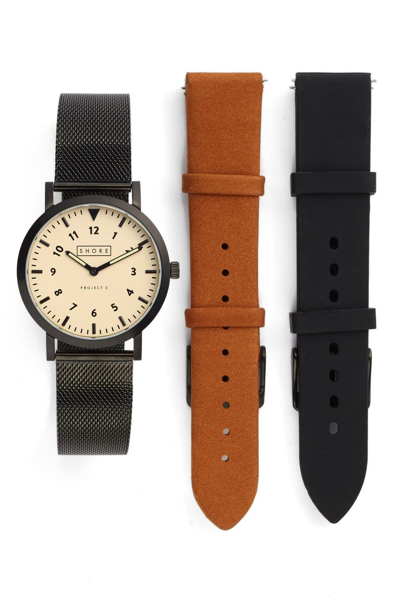 SHORE PROJECTS 'Project 3' Round Watch Leather & Mesh Strap Box Set, 39mm, Main, color, LIGHT BROWN/ BLACK/ BLACK