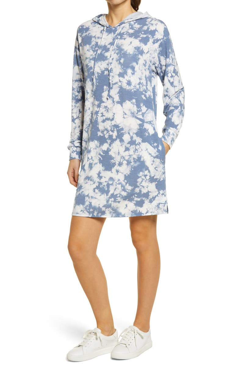 CASLON<SUP>®</SUP> Hooded Sweatshirt Dress, Main, color, BLUE SUBTLE TIE DYE