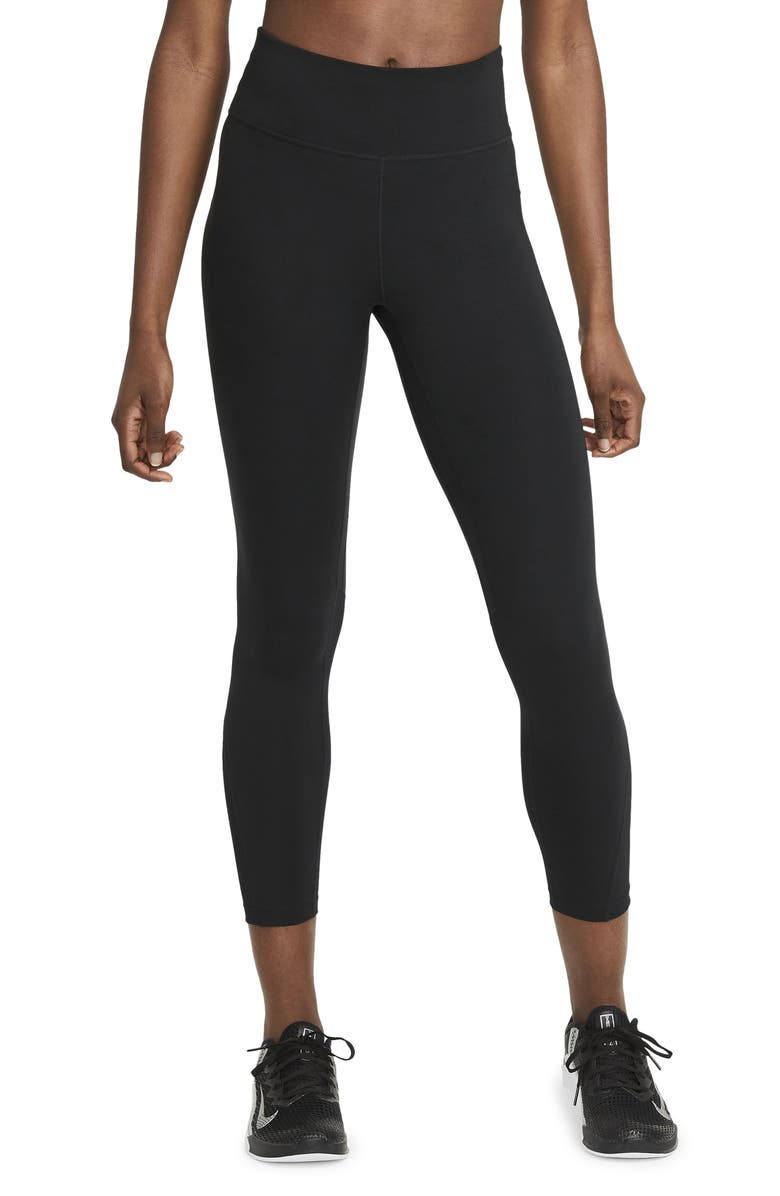 NIKE One Mid Rise 7/8 Tights, Main, color, BLACK/WHITE