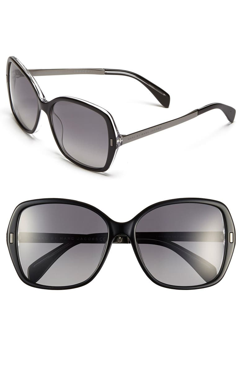 MARC BY MARC JACOBS 57mm Oversized Polarized Sunglasses, Main, color, CRYSTAL BLACK