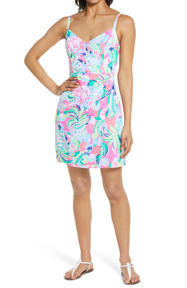 LILLY PULITZER<SUP>®</SUP> Scarlet Floral Side Tie Dress, Main, color, MULTI RAISE THE BAR