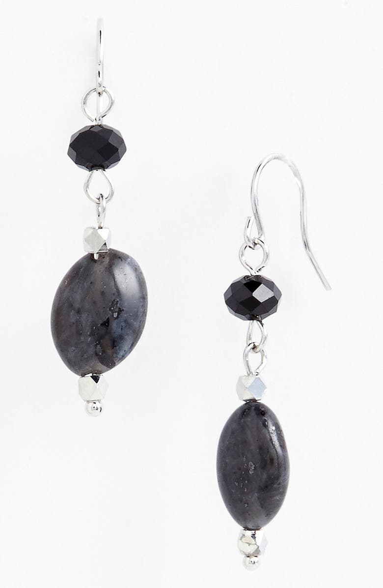 NORDSTROM 'Pebbles' Small Bead Drop Earrings, Main, color, LAVA/ SILVER