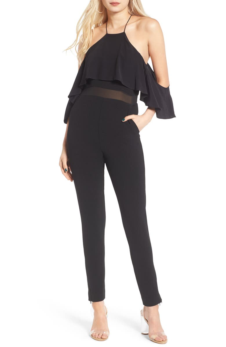 ST. STUDIO Cold Shoulder Jumpsuit, Main, color, 007