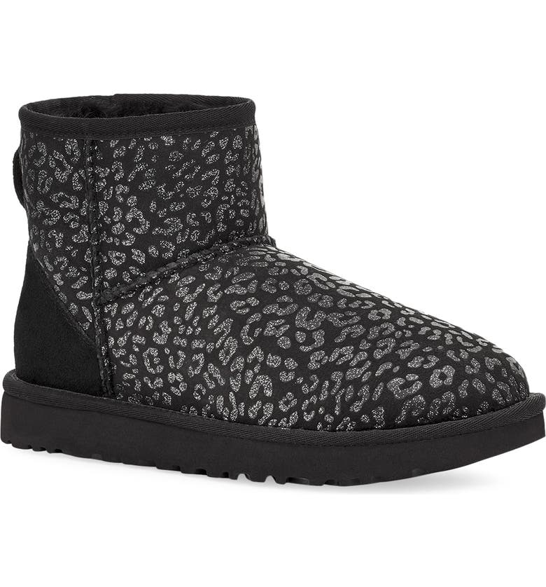 UGG<SUP>®</SUP> Classic Mini II Genuine Shearling Lined Boot, Main, color, BLACK SNOW LEOPARD SUEDE