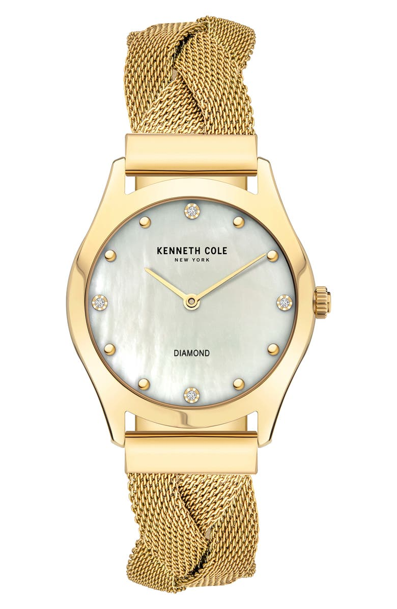 KENNETH COLE NEW YORK Diamond Accent Braided Mesh Bracelet Watch, 34mm, Main, color, GOLD HAMILTON GOLD
