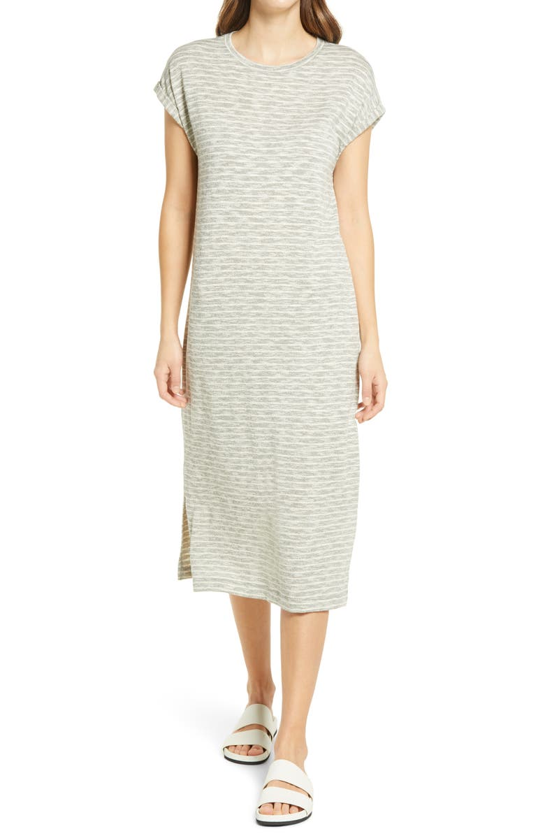 CASLON<SUP>®</SUP> Roll Sleeve T-Shirt Dress, Main, color, GREEN- WHITE COMBO