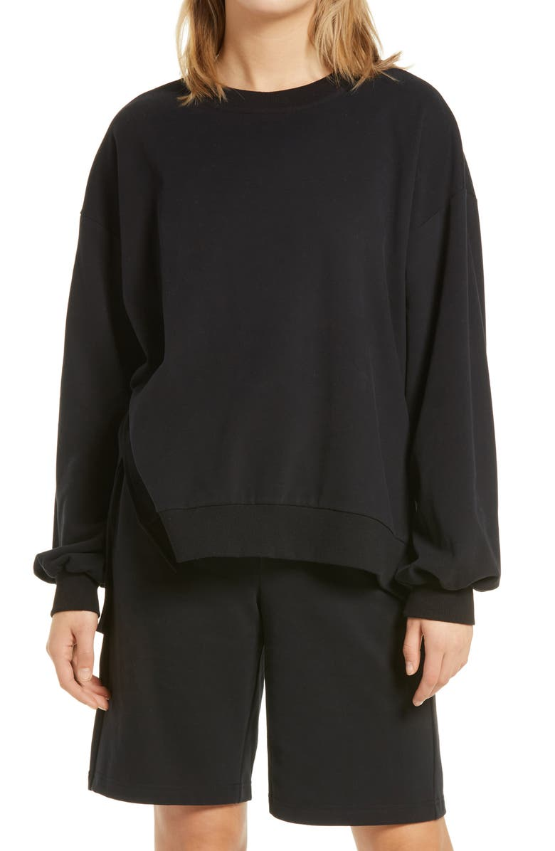 BP. Oversized Crewneck Sweatshirt, Main, color, BLACK