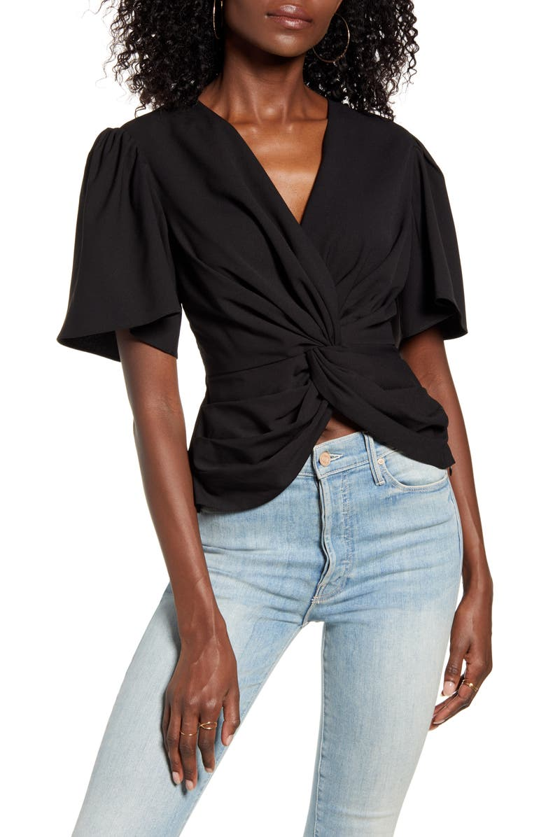 ENDLESS ROSE Twist Front Ruffle Sleeve Blouse, Main, color, 001