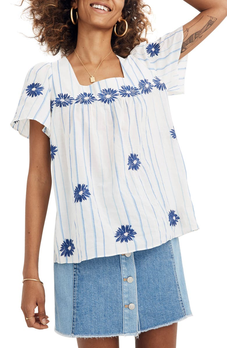 MADEWELL Floral Embroidered Stripe Butterfly Top, Main, color, 900