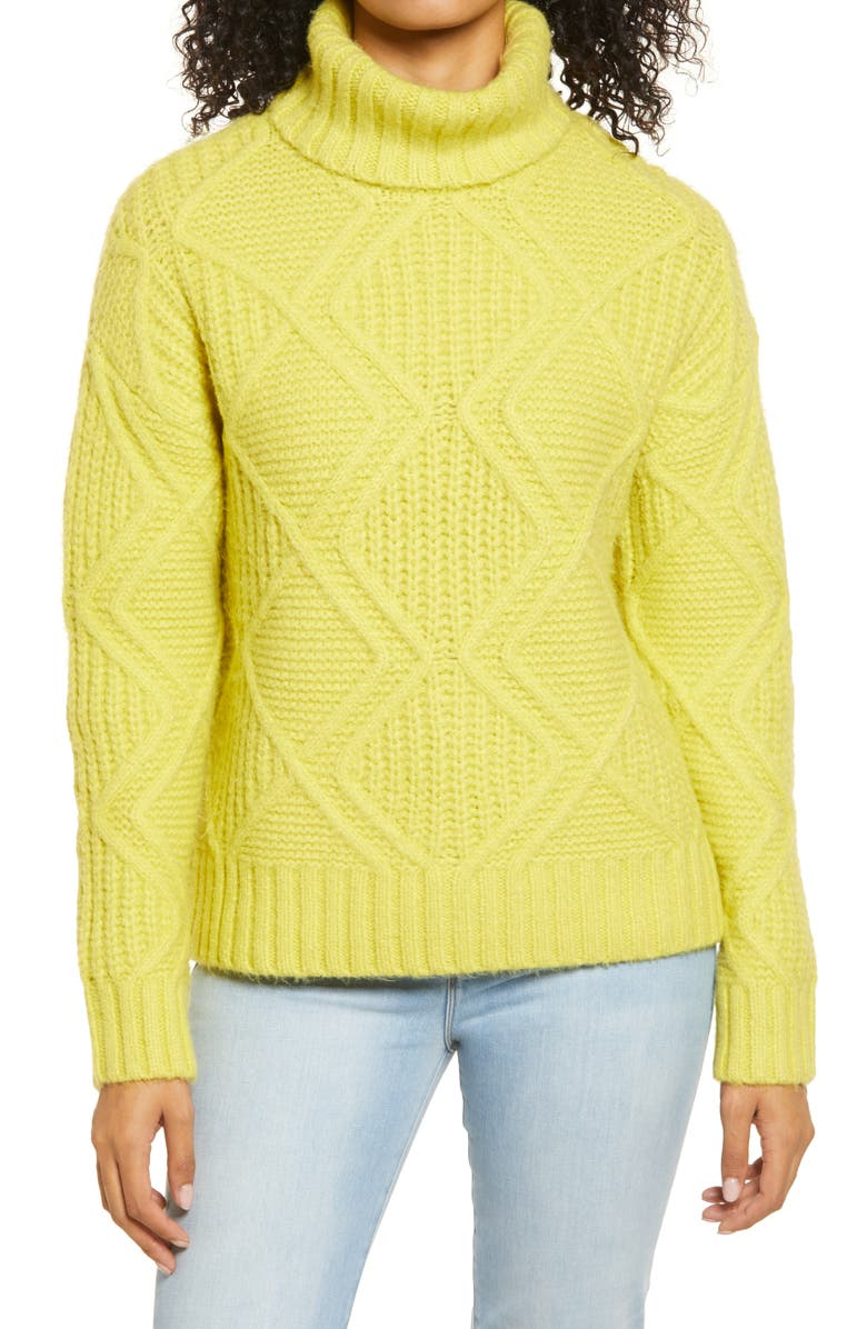 CASLON<SUP>®</SUP> Chunky Cable Knit Turtleneck Sweater, Main, color, YELLOW CITRON